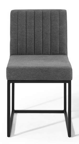 Carriage Charcoal Fabric/Matte Black Metal Side Chair by Modway