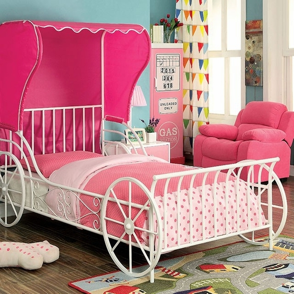 Charm White/Pink Metal Twin Bed with Tent by Furniture of America