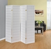 Demelza White Paper/Wood 4 Panel Folding Screen by Coaster