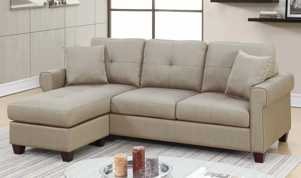 Becky 2-Pc Beige Fabric Reversible Sectional Sofa by Poundex