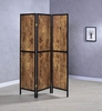 Tallie Antique Nutmeg/Black Wood 3 Panel Folding Screen by Coaster