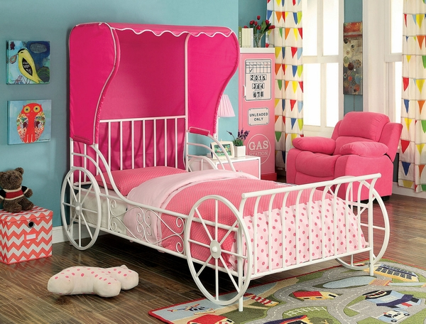 Charm Pink/White Metal Full Bed w/Fabric Tent by Furniture of America