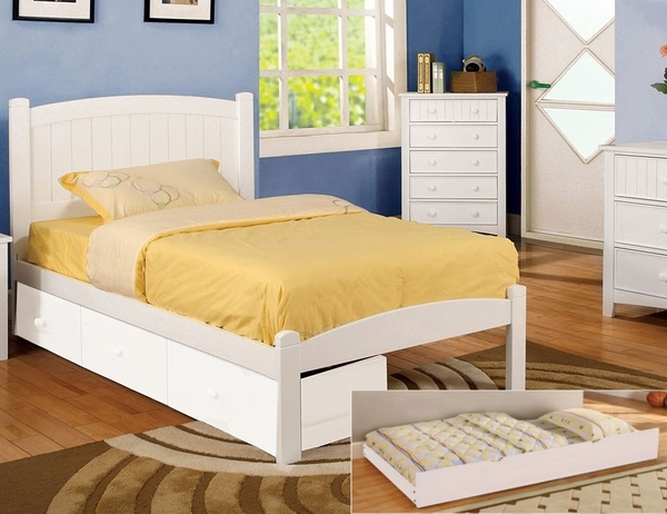 Caren White Wood Twin Bed with Trundle by Furniture of America