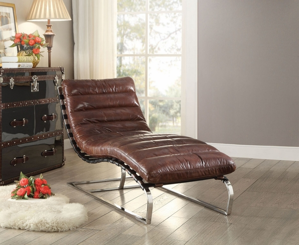 Qortini Vintage Dark Brown Top Grain Leather Chaise by Acme