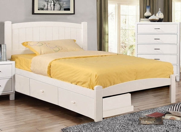 Caren White Wood Full Bed w/Underbed Drawers by Furniture of America