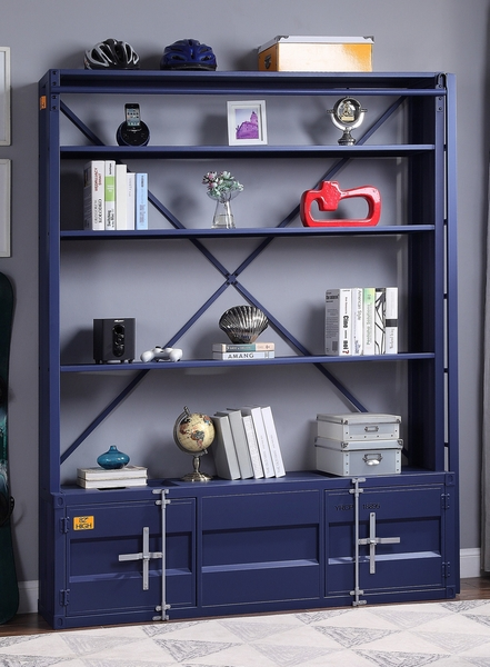 Cargo Blue Metal Bookshelf with Ladder by Acme