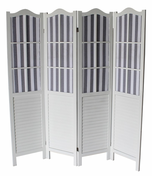 Dot White Wood 4-Panel Room Divider by Milton Greens Stars