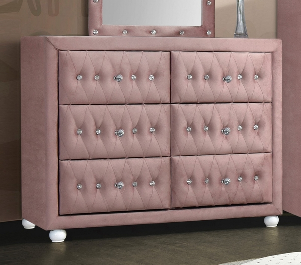 Reggie Pink Fabric Upholstered 6-Drawer Dresser by Acme