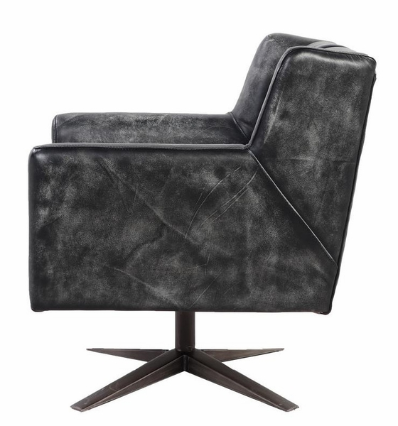 Brancaster Vintage Black Top Grain Leather Office Chair by Acme