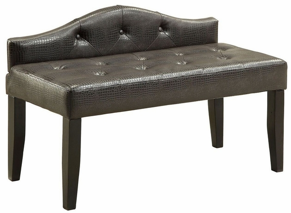 Calpas III Brown Leatherette Small Bench by Furniture of America