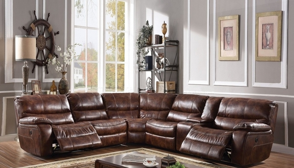 Brax 2-Tone Brown Leather Gel Power Recliner Sectional Sofa by Acme