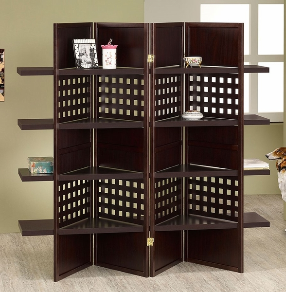 Lilac Espresso Wood 4-Panel Screen by Asia Direct