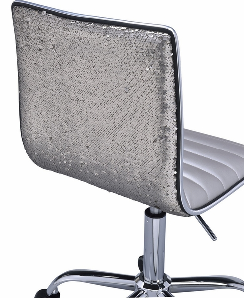 Alessio Silver PU Leather/Chrome Metal Swivel Office Chair by Acme