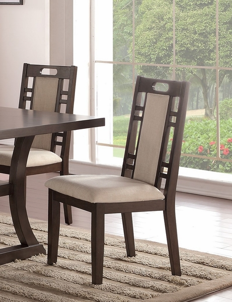 Bibiana 2 Beige Cushion/Brown Wood Side Chairs by Poundex