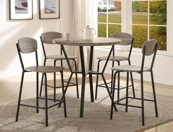 Blake 5-Pc Metal/Wood Counter Height Table Set by Crown Mark