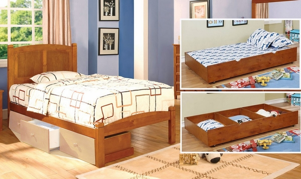 Cara Oak Wood Twin Bed with Trundle-Drawers by Furniture of America