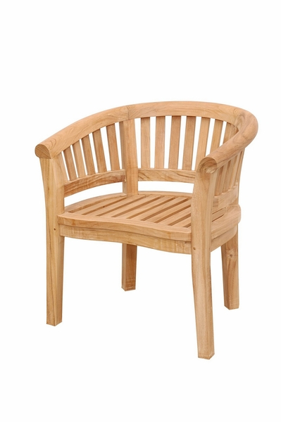 Curve Natural Outdoor Arm Chair w/Extra Thick Wood by Anderson Teak