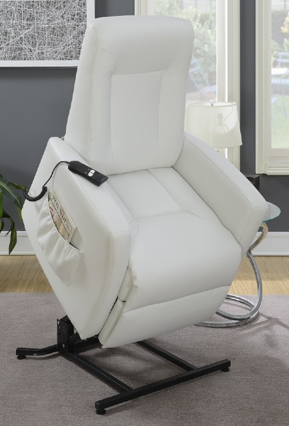 Vita White Bonded Leather Power Recliner by Poundex