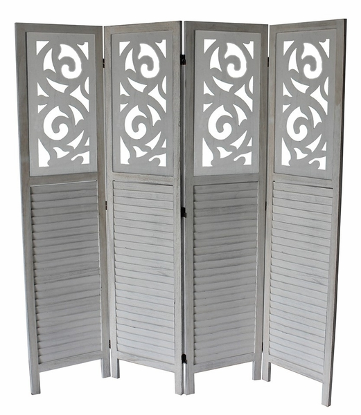Grant Washed Gray 4-Panel Room Divider by Milton Greens Stars