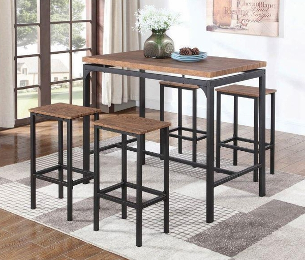 Bryndis 5-Pc Weathered Chestnut/Black Metal Bar Table Set by Coaster