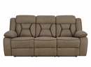Houston 2-Pc Tan Faux Suede Manual Recliner Sofa Set by Coaster