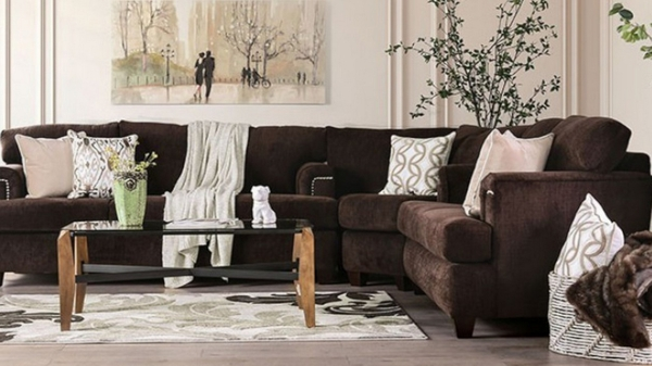Brynlee 3-Pc Chocolate Fabric Sectional Sofa by Furniture of America