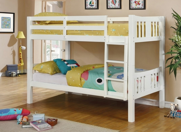 Cameron White Wood Twin over Twin Bunk Bed by Furniture of America