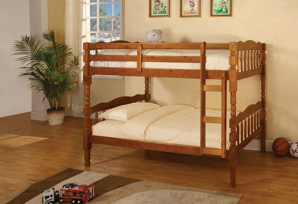 Catalina Oak Twin over Twin Bunk Bed by Furniture of America