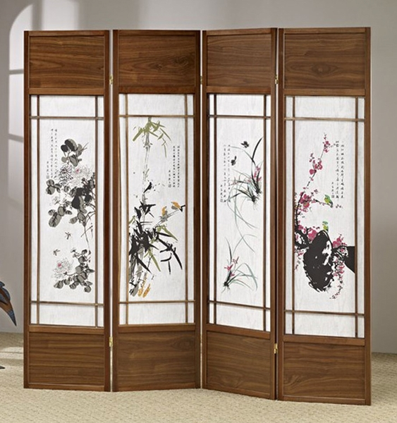Arlette Brown Wood/Floral Paintings 4-Panel Screen by Asia Direct