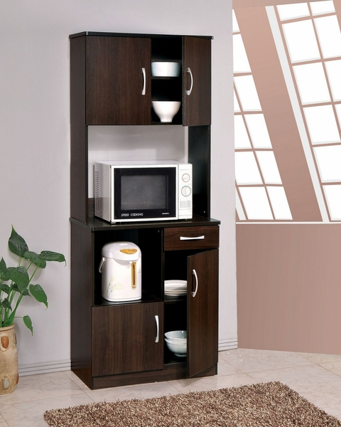Quintus Espresso Wood Kitchen Cabinet w/ 4 Doors & 1 Drawer by Acme