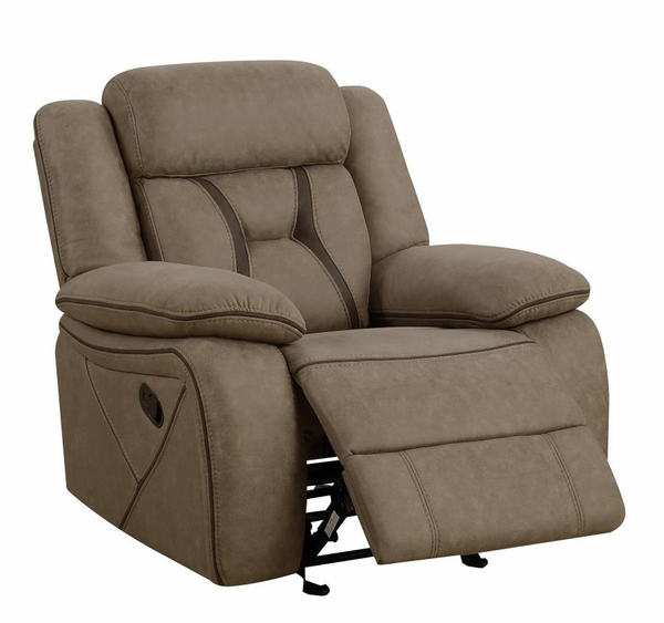 Houston 3-Pc Tan Faux Suede Manual Recliner Sofa Set by Coaster