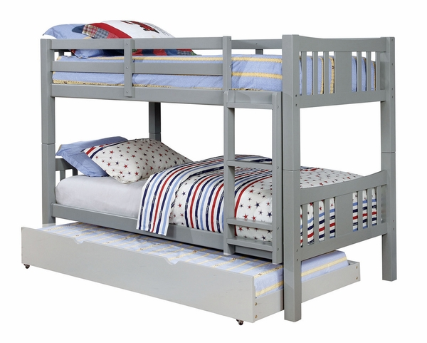 Cameron Gray Wood Twin over Twin Bunk Bed by Furniture of America