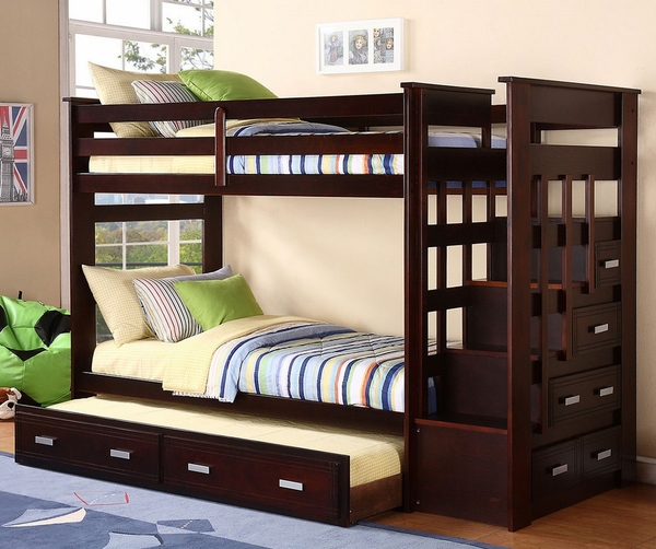 Cinzia Espresso Wood Twin Bunk Bed with Side Drawers by Asia Direct