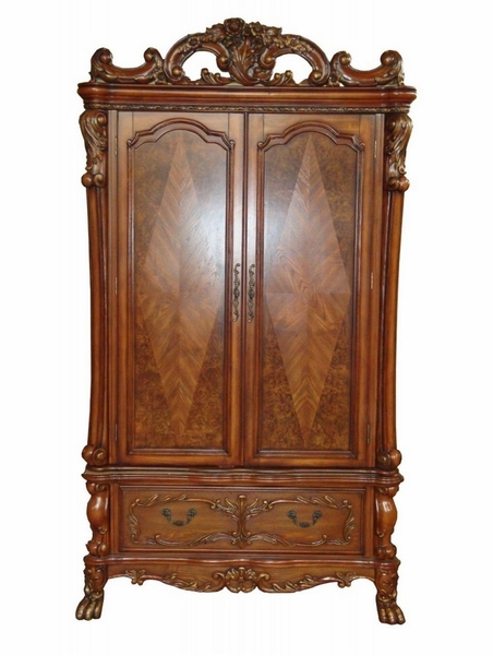 Dresden Cherry Oak Wood TV Armoire with Poly Decorations by Acme