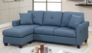 Becky 2-Pc Blue Fabric Reversible Sectional Sofa by Poundex