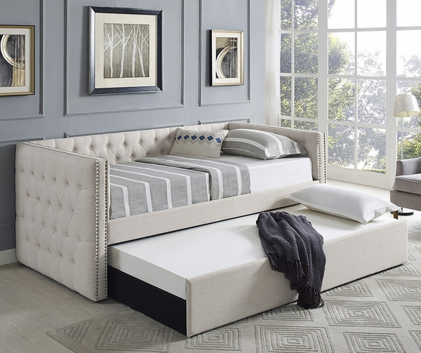 Trina Ivory Fabric Twin Daybed with Trundle by Crown Mark