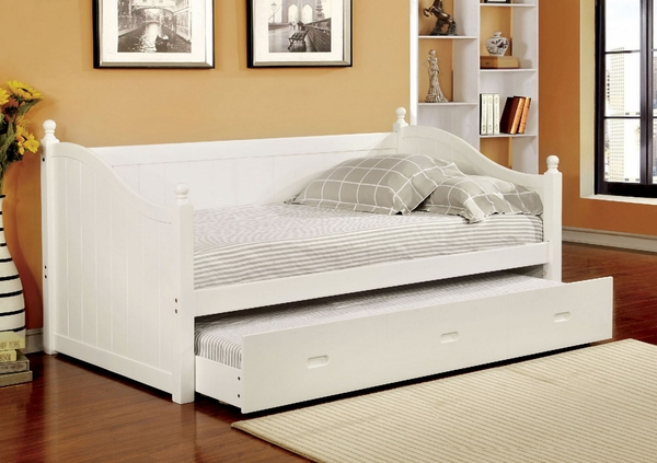Walcott White Wood Twin Daybed with Trundle by Furniture of America