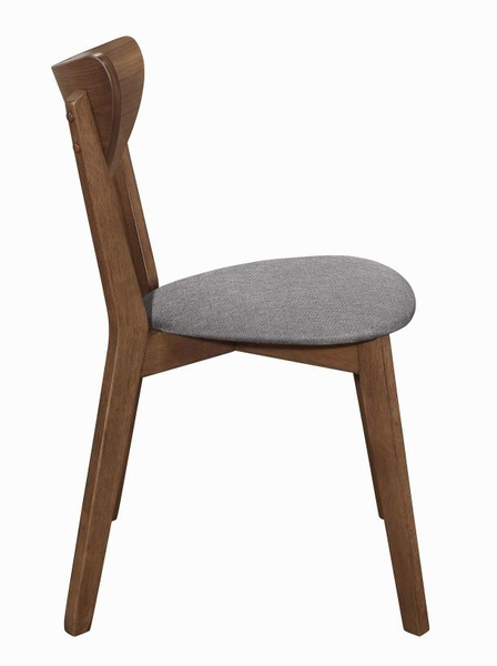 Alfredo 2 Grey Fabric/Natural Walnut Wood Side Chairs by Coaster