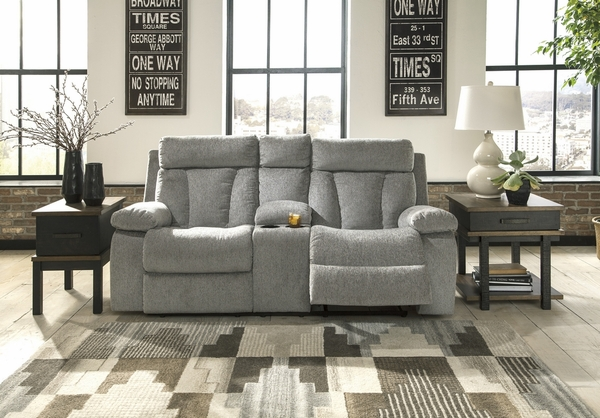 Signature Design Mitchiner Fog Manual Recliner Loveseat by Ashley