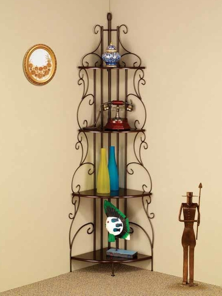Abeyance Cappuccino Wood Corner Bookcase w/ Metal Frame by Coaster