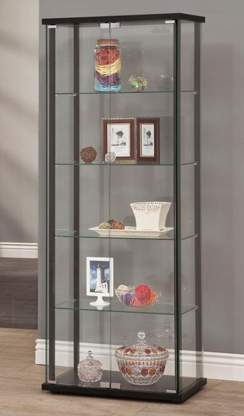 Melika Glass Curio Cabinet with Simple Black Frame by Coaster