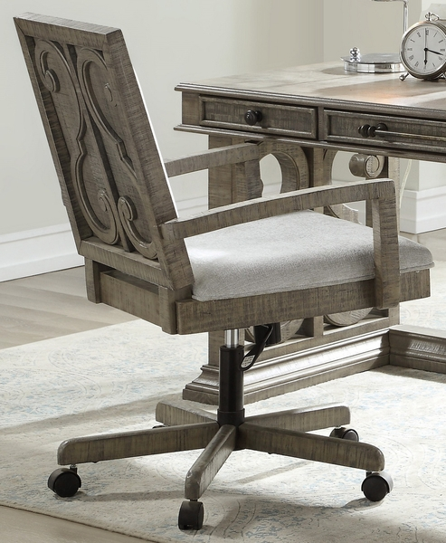 Artesia Salvaged Natural Wood/Fabric Executive Office Chair by Acme