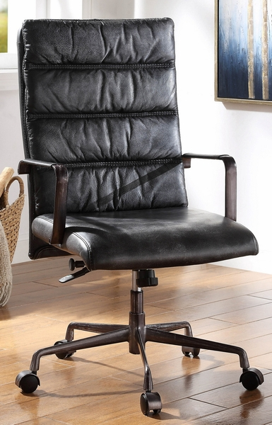 Jairo Brushed Black Top Grain Leather Executive Office Chair by Acme