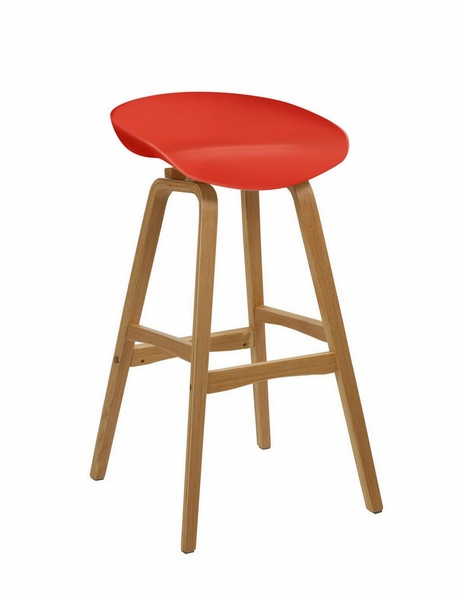 Brentwood Red Plastic/Molded Bamboo Bar Stool by Diamond Sofa
