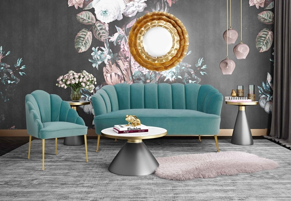 Daisy Petite Sea Blue Velvet Channel Tufted Settee by TOV Furniture