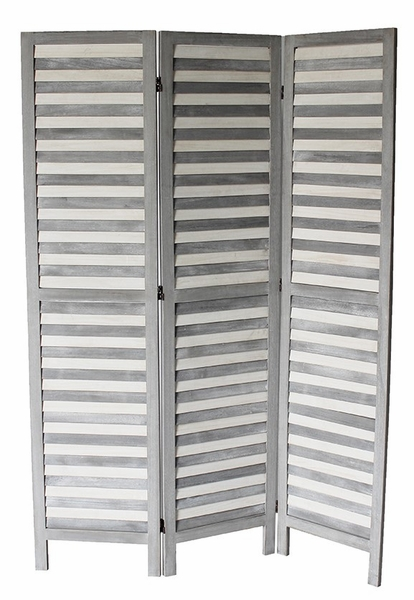 Max Gray & White Wood 3-Panel Room Divider by Milton Greens Stars