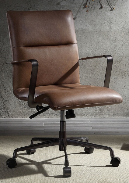 Indra Vintage Chocolate Top Grain Leather Office Chair by Acme