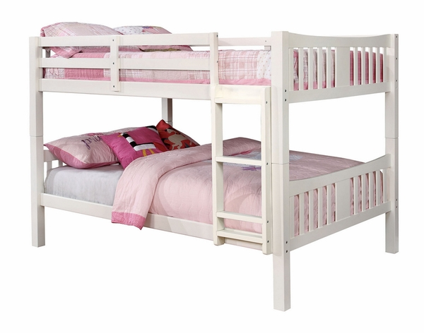 Cameron White Wood Full over Full Bunk Bed by Furniture of America