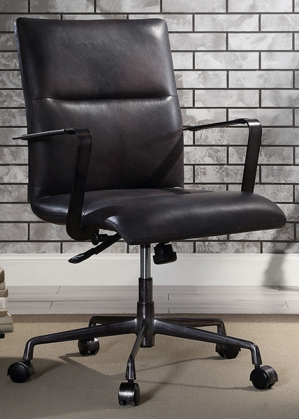 Indra Onyx Black Top Grain Leather Office Chair by Acme