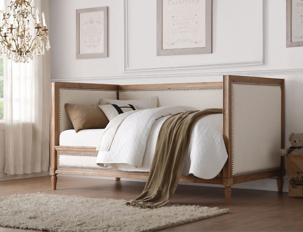 Charlton Cream Linen/Salvage Oak Wood Twin Daybed by Acme